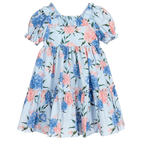Patachou Blue Floral Print Cotton Dress