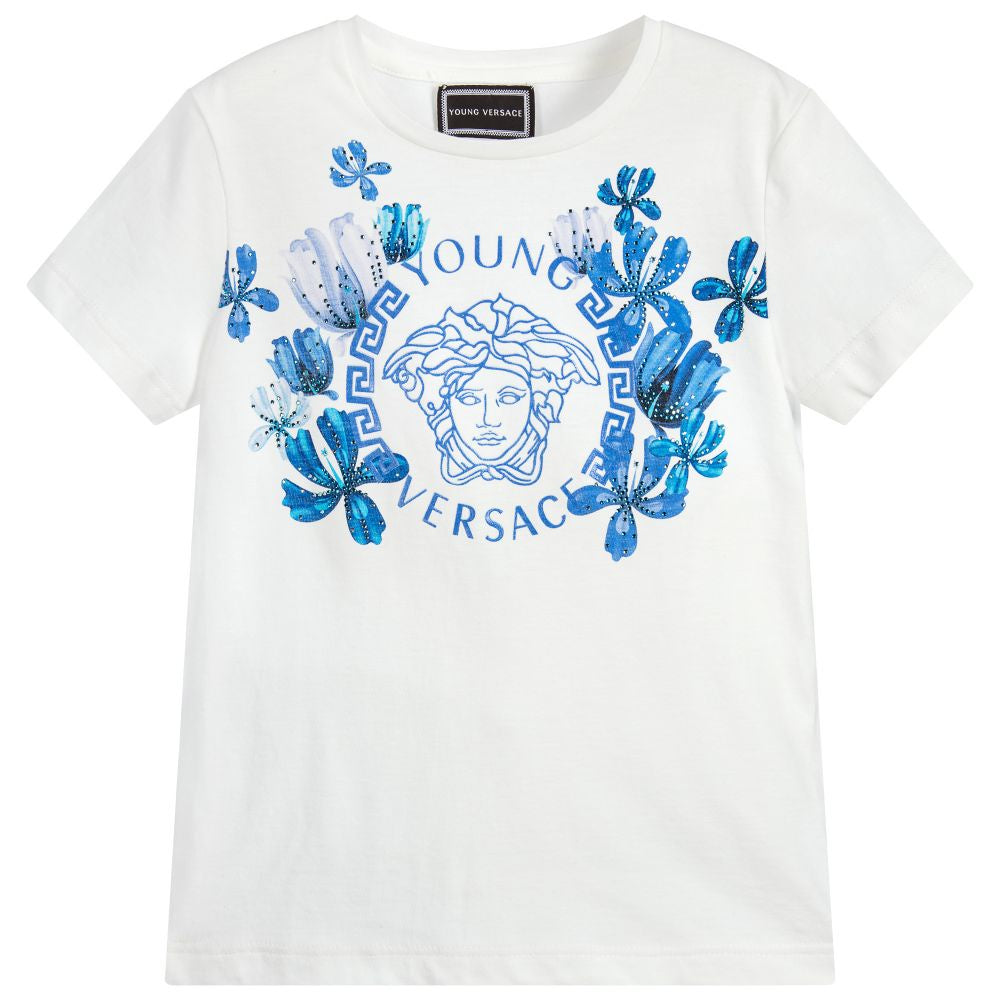 ab0ab0c2 Versace White Floral T-Shirt. Young Versace