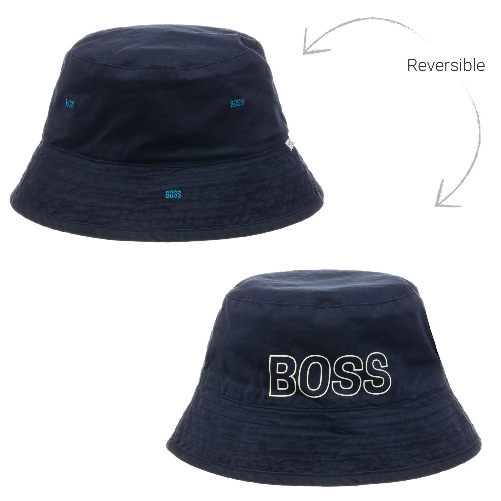 BOSS Baby Blue Cotton Reversible Hat