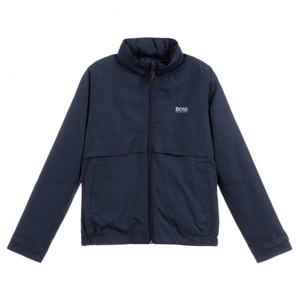 BOSS Boys Navy Blue Rain Jacket