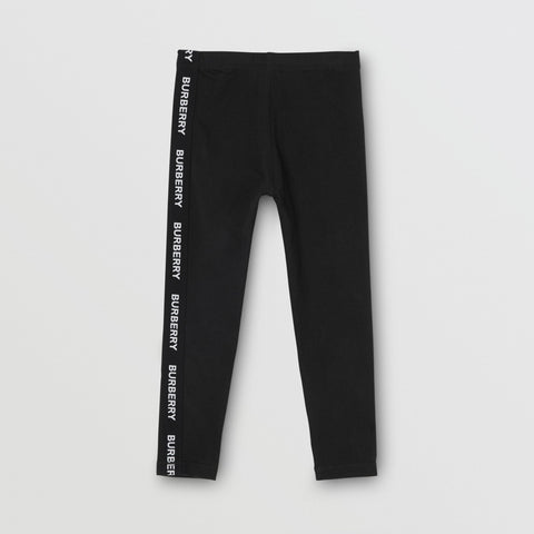 Logo Detail Stretch Cotton Leggings