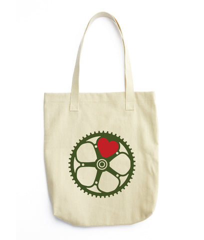 chainring heart tote bag