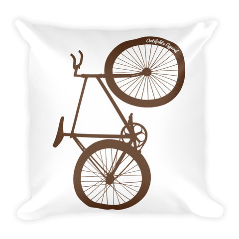 Big Wheelie Square Pillow, Brown Bike on White