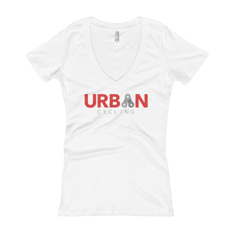 Urban Cycling Red Logo Women's V-Neck T-shirt