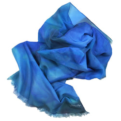 Azalea Skye Blue Silk-Cotton Scarf Wrap