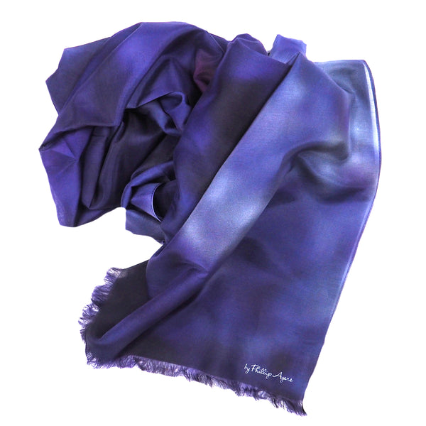 Blue Lilac Silk-Cotton Scarf Wrap