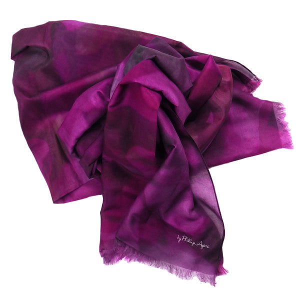 Bougainvillea Pink Silk-Cotton Scarf Wrap