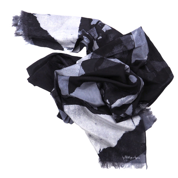 Paris Metro Newspaper Print Silk-Cotton Scarf Wrap