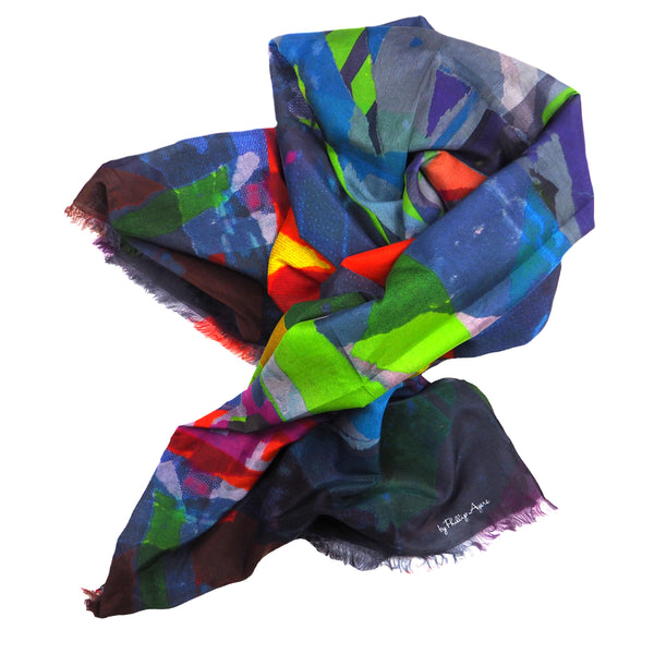Paris Metro 1 Lime Silk-Cotton Scarf Wrap