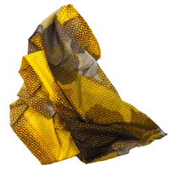 Paris Yellow Pixel Metro 1 Silk-Cotton Scarf Wrap