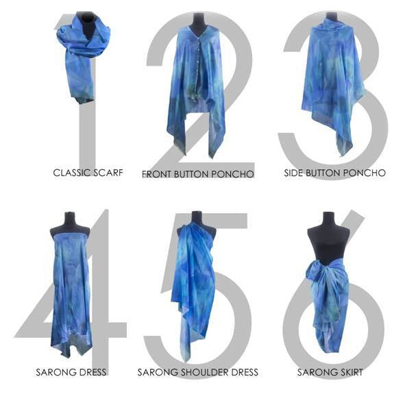 Paris Blue Metro 1 Silk-Cotton Scarf Wrap