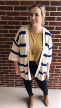 """Hank"" Cardigan, Navy/Cream"