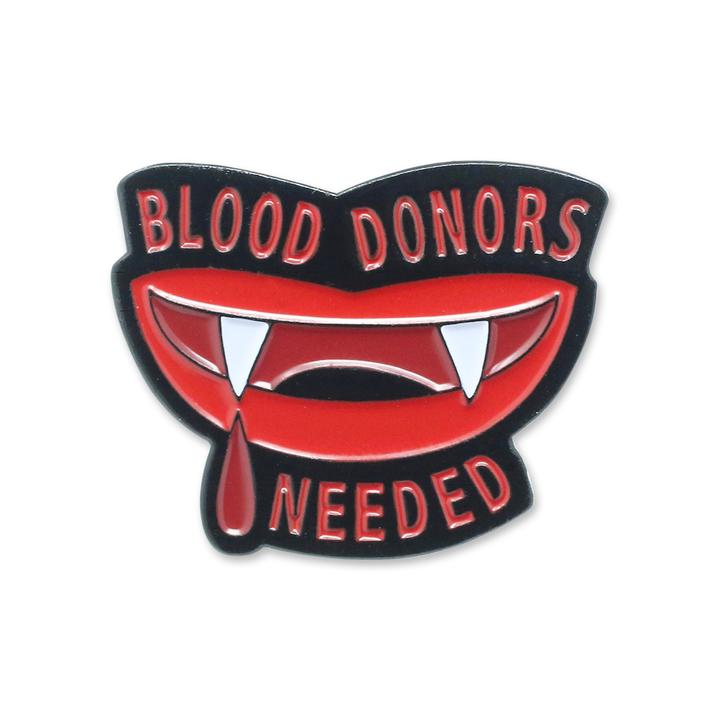 blood donors needed enamel pin