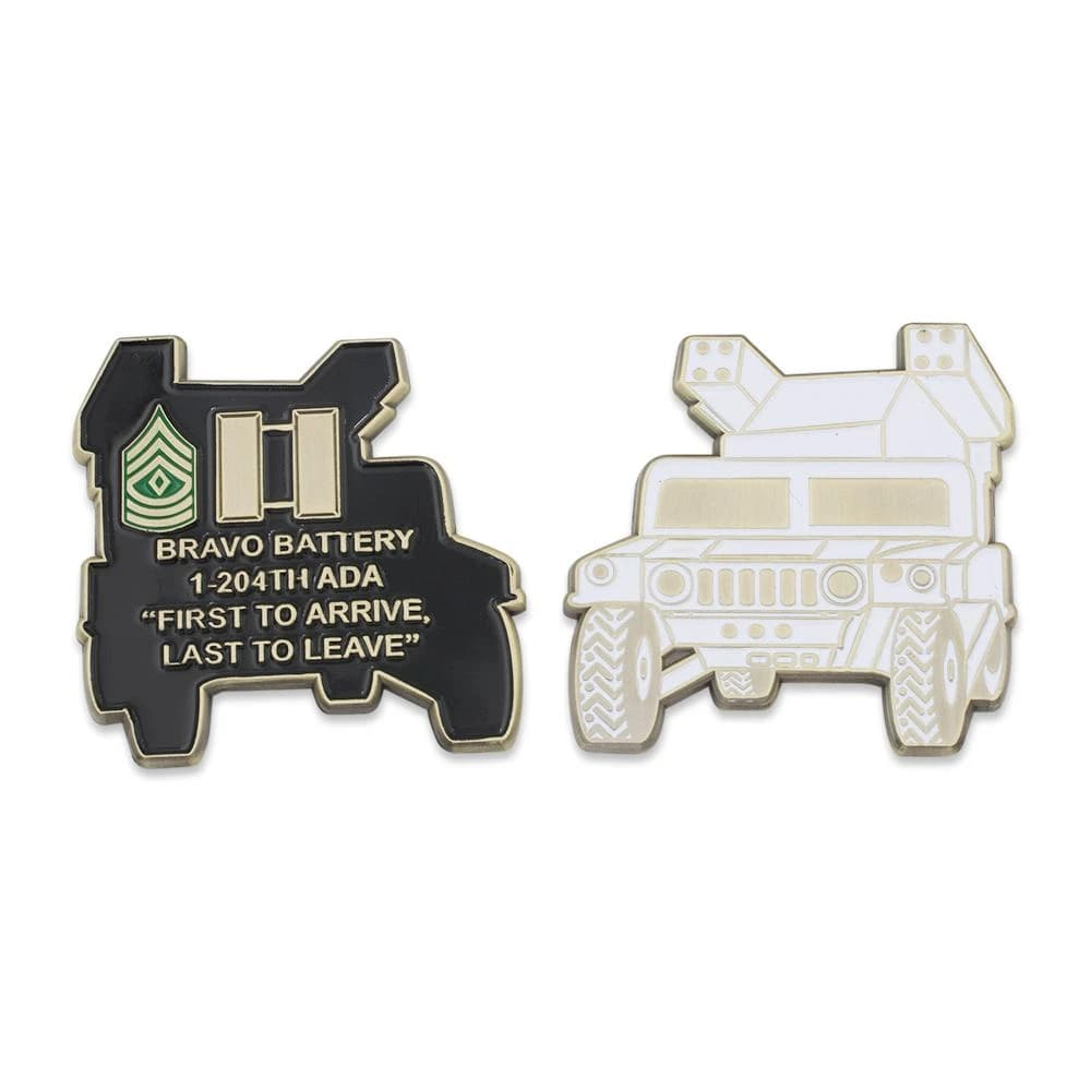 Tank shaped challenge coin