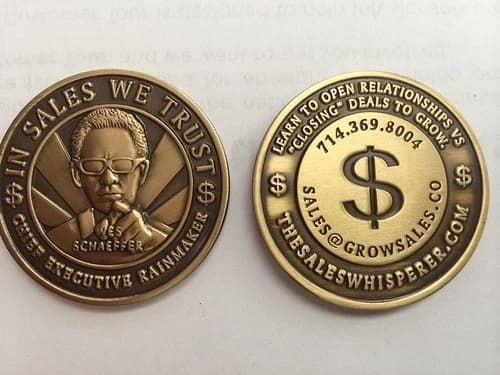 Business card challenge coin