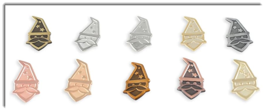 Image showing ten different plating options for enamel pins