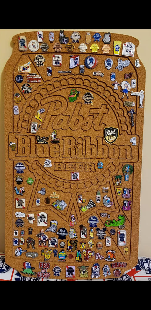 corkboard enamel pin display shaped like a beer can