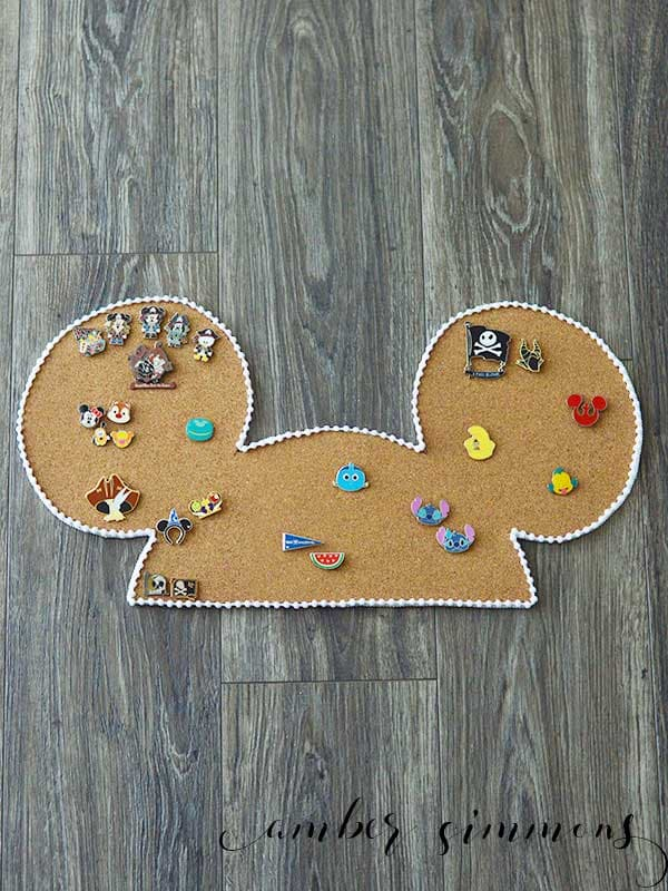 Mouse ear-shaped enamel pin display