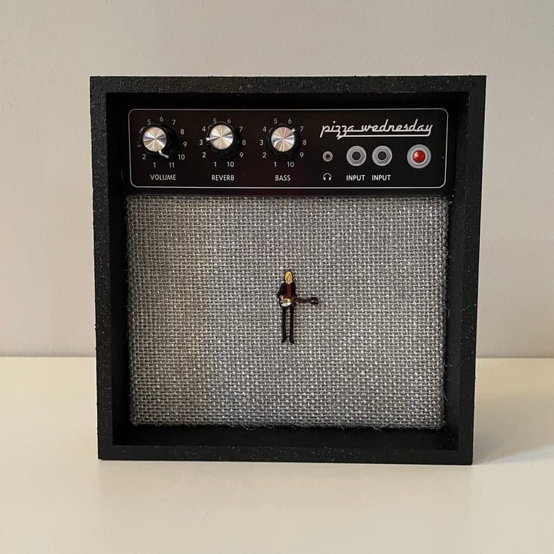 Amplifier-shaped enamel pin display