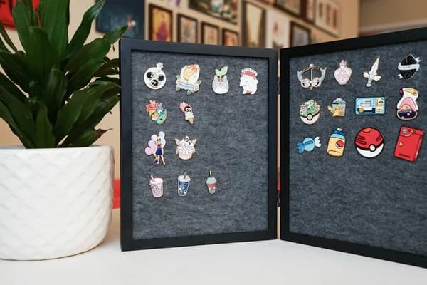 folding picture frame enamel pin display
