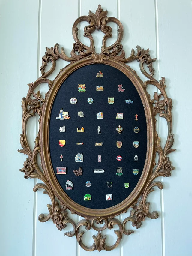 mirror frame enamel pin display
