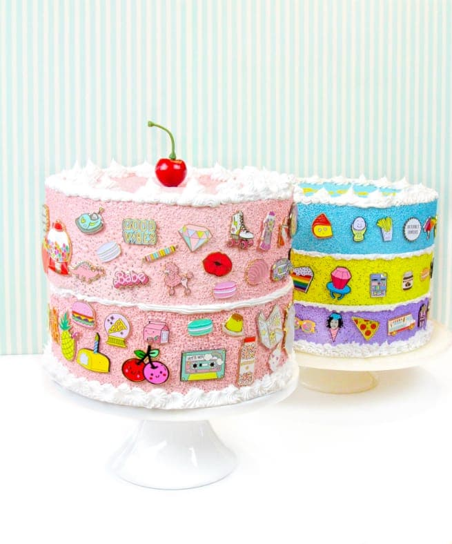 cake-shaped enamel pin display
