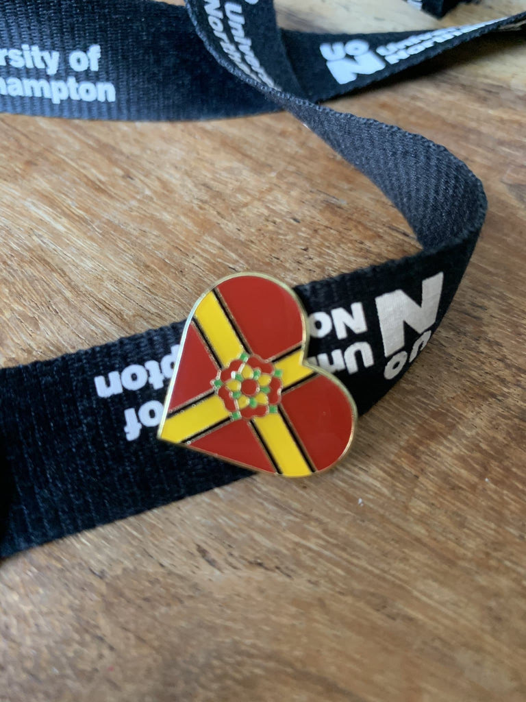 Lanyard with heart shaped enamel pin attached
