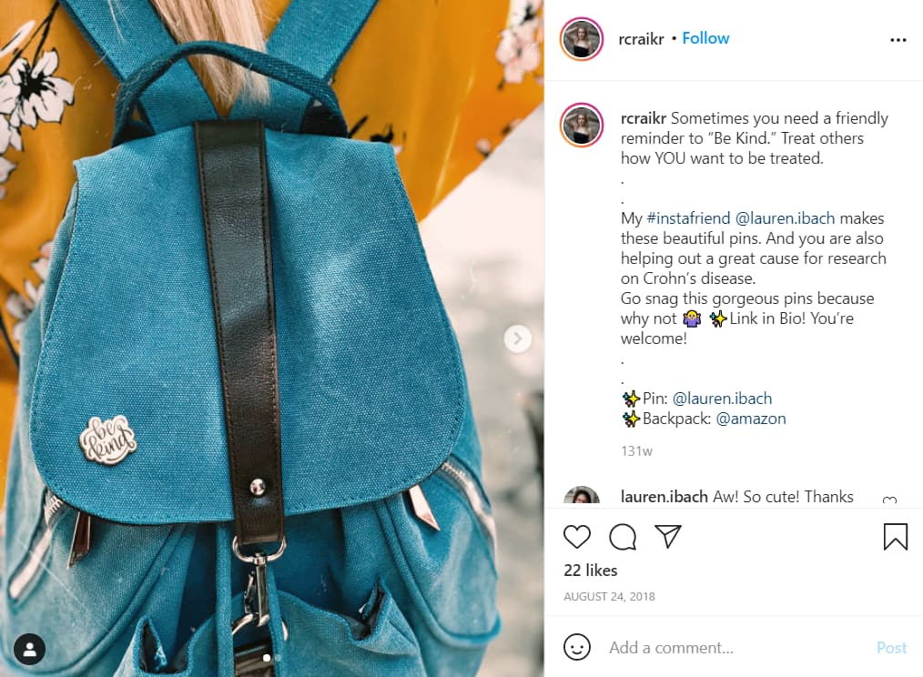 Instagram screenshot of a backpack with an enamel pin attached