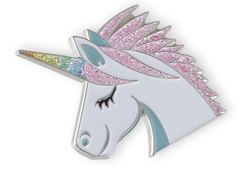 unicorn enamel pin with rainbow glitter and silver plating