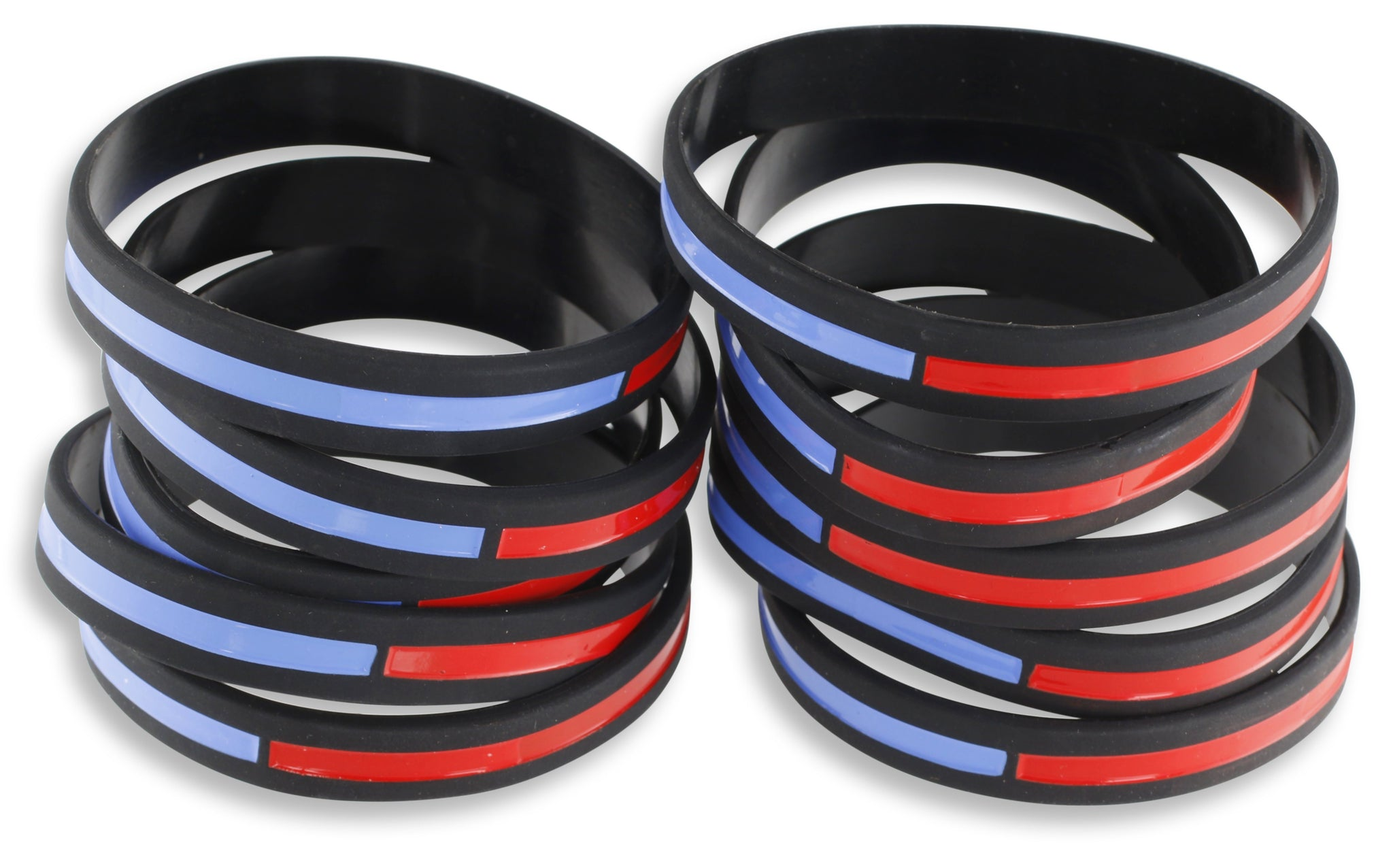 Thin Blue Line x Thin Red Line Combined Silicone Wristbands