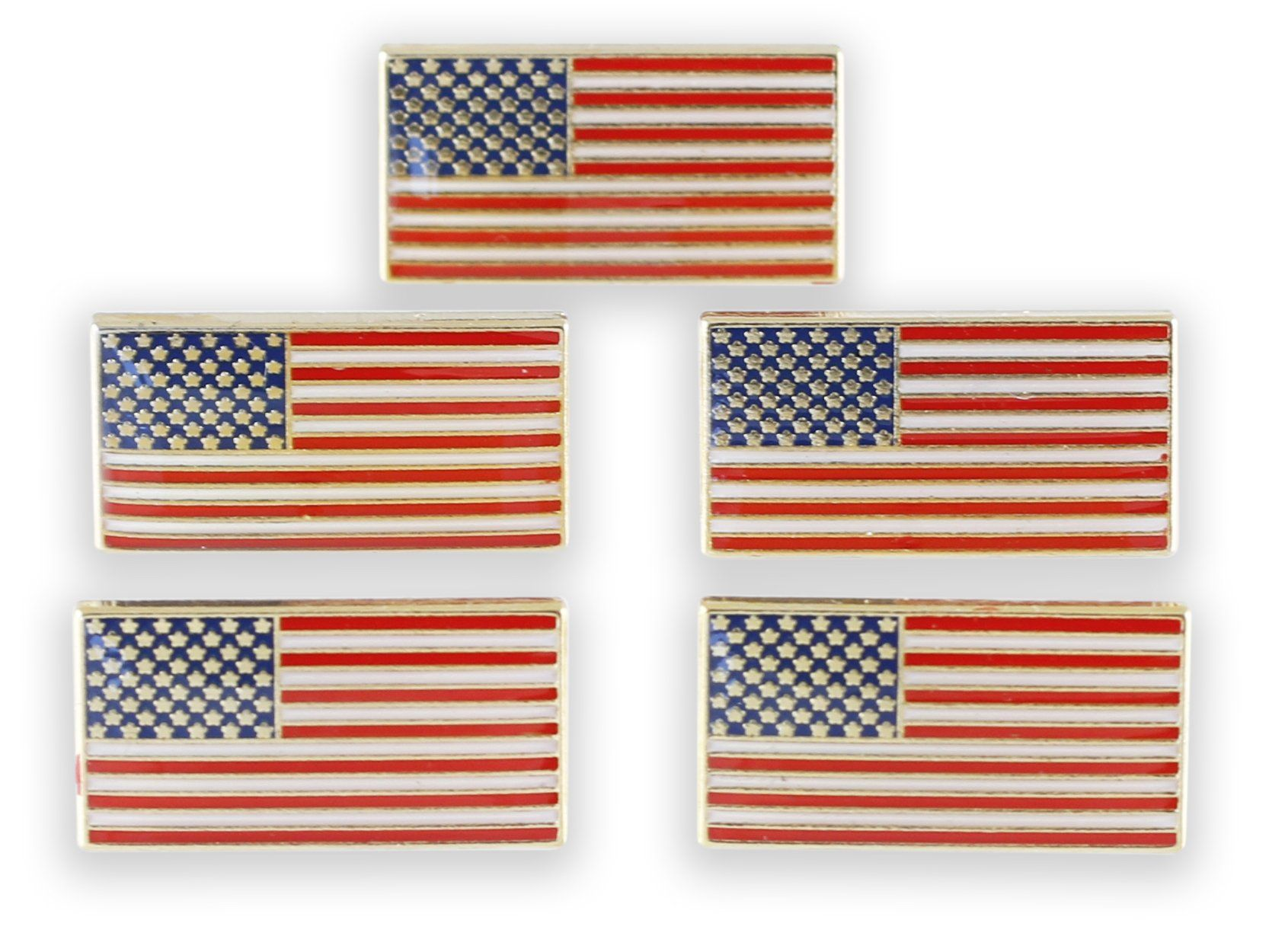 American Flag USA Enamel Diestruck Lapel Pin Gold Tone 13 Stripes 50 Stars
