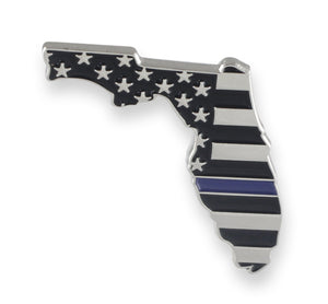 Florida State Shape Blue Line Lapel Pin