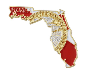 State Shape of Florida with Florida Flag Lapel Pin