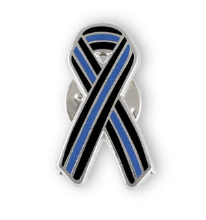 Thin Blue Line Ribbon Police Support Enamel Lapel Pin