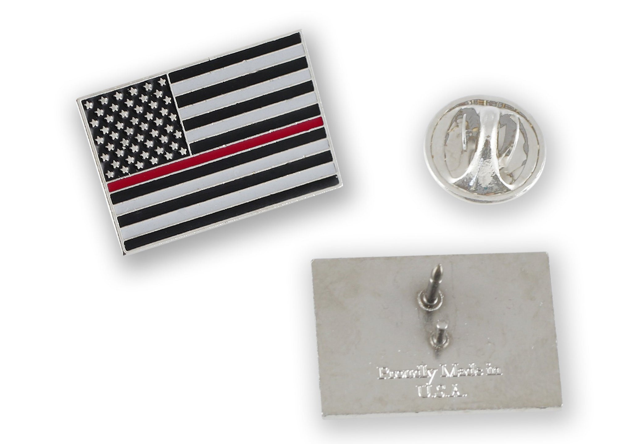 Made in USA Thin Red Line American Flag Firefighter Pin