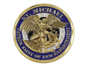 Police Officer St Michael Law Enforcement Challenge Coin Blue Enamel
