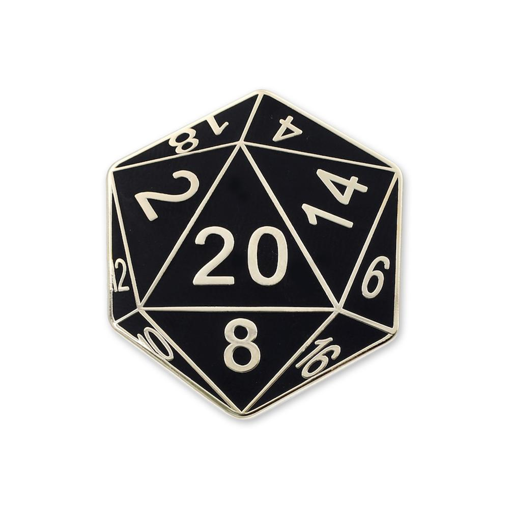 20 Sided Die Enamel Lapel Pin