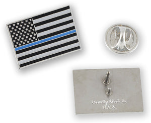 Made in USA Thin Blue Line American Flag Police Pin
