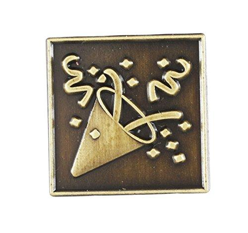 Emoji Antique Gold Tone Lapel Pin