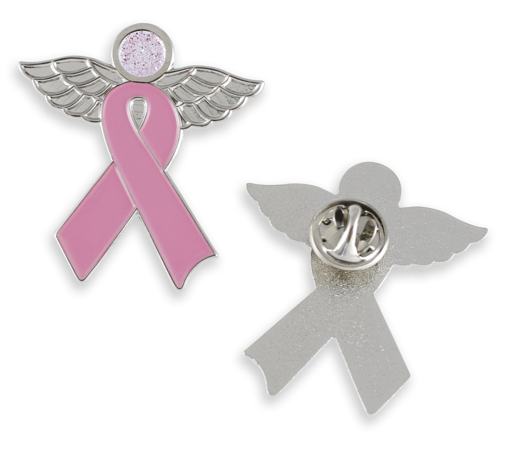 Pink Ribbon Angel Glitter Enamel Pin Brooch Breast Cancer Awareness
