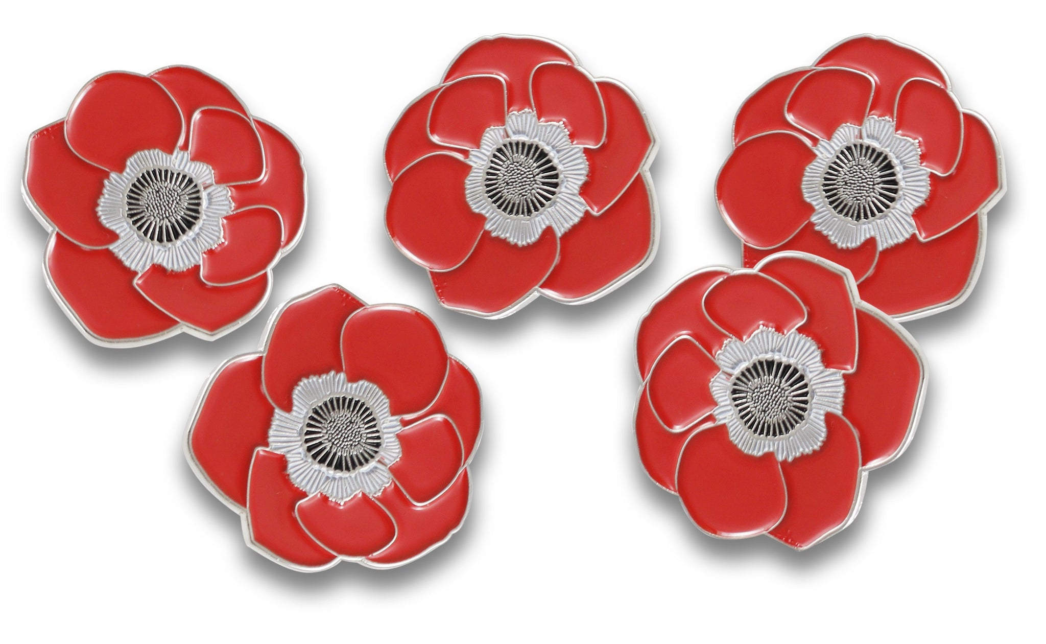 Poppy Remembrance Flower Lapel Pin