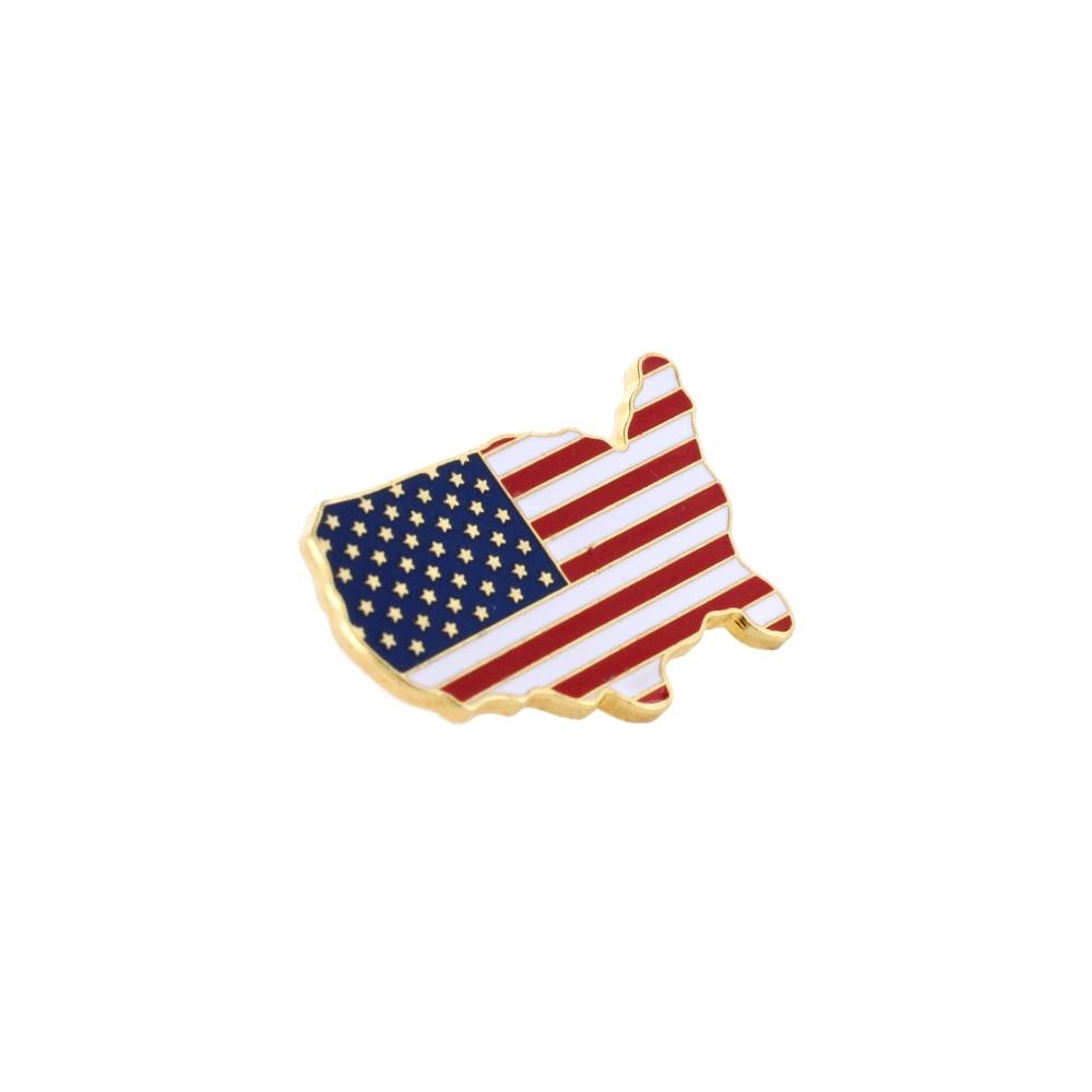Made in USA Gold United States Outline American Flag Patriotic Lapel Pin