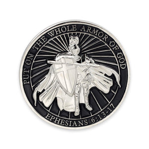 Put On The Whole Armor of God Black Enamel Challenge Coin