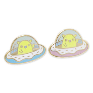 Happy Alien Donut Flying Spaceship Enamel Pin