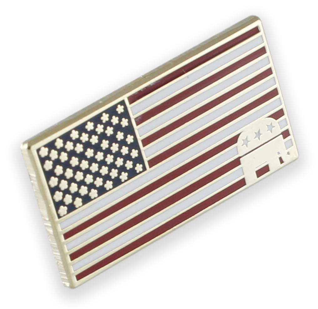 American Flag Republican Elephant Lapel Pin