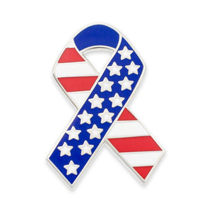 American Flag Stars & Stripes Ribbon Enamel Lapel Pin