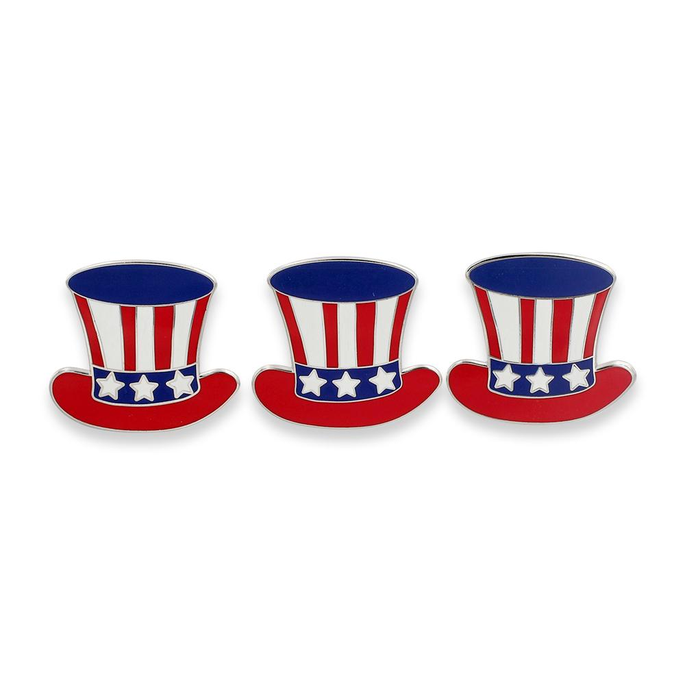 American Flag Uncle Sam Hat Enamel Lapel Pin