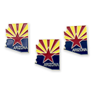 Arizona State Shape and State Flag Lapel Pin