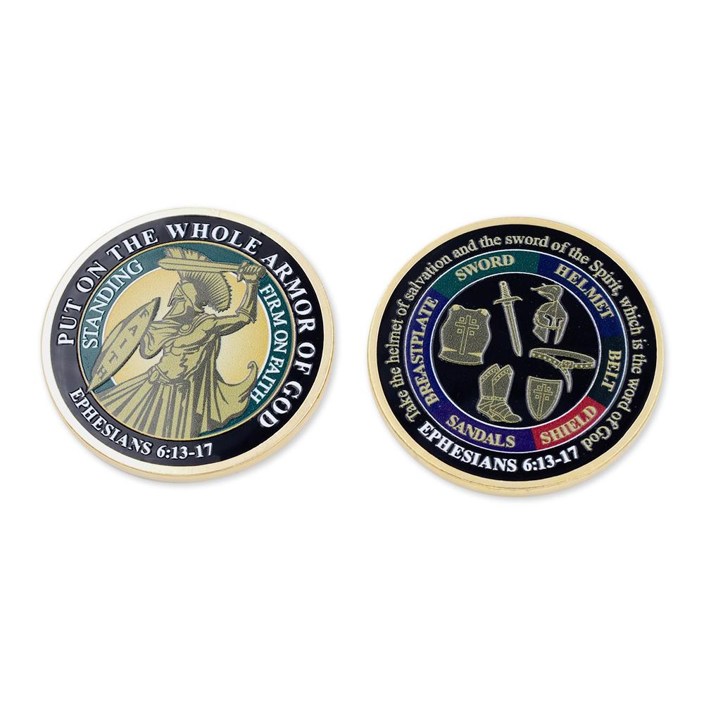 Put On The Whole Armor of God EPH 6:13-17 Dimensionally Printed Challenge Coin