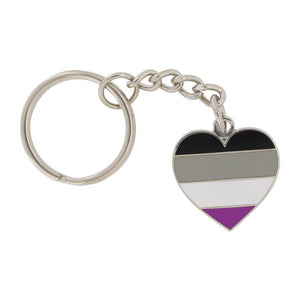 Asexual Pride Heart Shaped Flag Keychain
